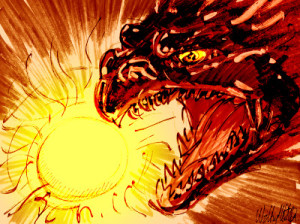 chinese cosmic dragon eating the sun