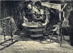 Lití olova přes klíč na sv. Ondřeje (ze sbírky J. Dotřela)